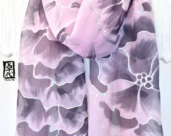 Silk Scarf Hand Painted, Pink and Black, Silver Peonies Scarf, Kimono Scarf, Chiffon Scarf, Silk Scarves Takuyo, 11x60 inches. MAde to order