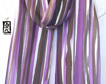 silk scarf Hand Painted, Long Silk Scarf, Brown, Purple Wabi Sabi Zen Scarf, Japanese Silk Scarf, Approx 8x72 inches.