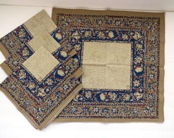Anne Klein Designer Napkins - Set of 4 - Blue Rust Tan Paisley - Fall Autumn Harvest Table Linens - Entertaining - Vintage Linens