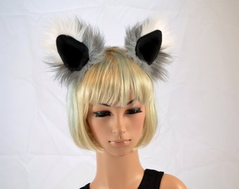 Gray and White Clip On Faux Fur Ears