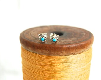Vintage Turquoise Post Earrings Tiny Posts Studs Native American Sterling Silver Jewelry