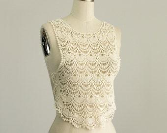 Large Cream Applique Front or Back Piece in Natural Cotton / Scallop Lace Collar Bodice Applique