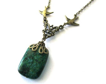 Chrysocolla necklace jewelry green stone necklace antique bronze brass sparrow necklace chrysocolla bead pendant vintage style
