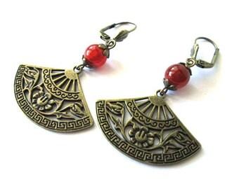 Fan earrings jewelry, carnelian stone earrings oriental jewelry, asian jewelry antique bronze brass fan charm dangle earrings