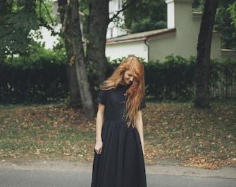 Black Dress, Linen, Women Fashion, Hand Made Clothing, Peter Pan Collar Dress,  Loose Dress, Linen Dress