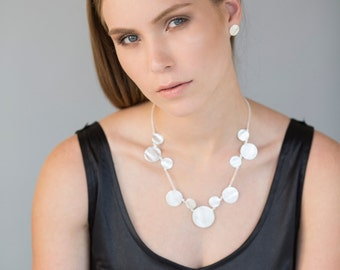 Short Coin Silver Necklace, silver necklace, short coin necklace, short silver necklace, bridal necklace, wedding jewelry, delicate bib