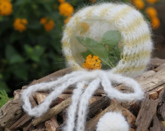 Newborn Mohair Alpaca Striped Bonnet with Pom Pom, Hand Knitted. NB RTS Photo Prop. Ready to FREE Shipping