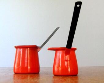 Pair of Vintage Enamel Warmer / Dippers - Red / White