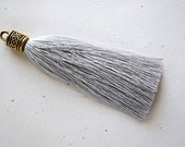 Silver Gray Silky Tassel Pendant -90mm- Assorted Tassel Cap Finishes - Handmade Jewelry Supply - 1 Piece (SK592)