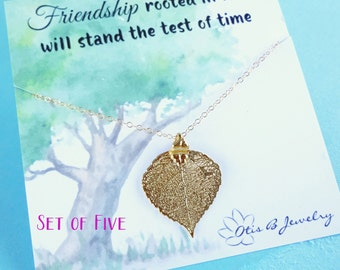 Bridesmaid gifts, Set of 5: Gold leaf necklaces on message cards, Bridesmaid gifts, autumn fall wedding, friendship necklaces, real leaf
