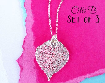 Set of THREE Silver leaf necklaces, Bridesmaid gifts, autumn fall wedding, friendship necklaces, aspen leaf, silver dipped leaf