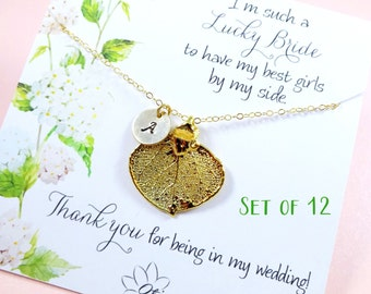 SET OF TWELVE Gold leaf necklaces on message cards, Personalized Bridesmaid gifts, fall wedding, Bridesmaid thank you, real leaf jewelry