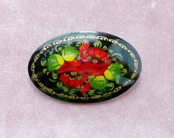 Hand Painted Retro Flower Brooch Signed