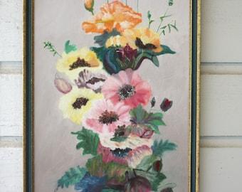 Bright Floral Still Life Framed Art, Flower Painting, Vintage Art, Framed Painting