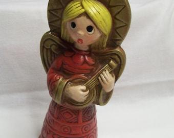 Vintage Angel Chalkware Hand Painted with Mandolin Figurine