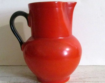Vintage Orange and Black Pitcher, Made in Czechslovakia, Black Handle and Trim, Czechoslovakian Pottery, Serving,Collectible