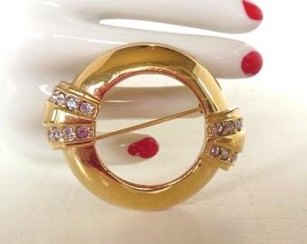 Vintage Avon Anniversary Brooch 1888 - 1985 100 Year Rhinestone Circle Gold (item 134)