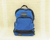 Vintage 70's Jansport Royal Blue & Black Zip Off Fanny Pack Backpack, Made in USA / ITEM413