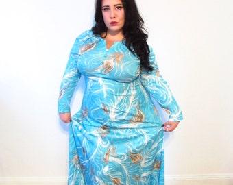 Plus Size Vintage Dress l  Blue Floral Maxi Dress l  Size XL l Vintage Dress