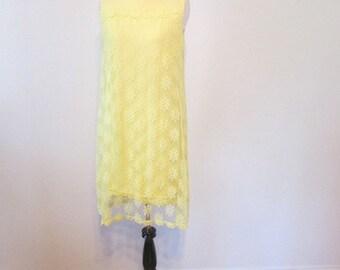 Vintage 1960's Dress l  Yellow Lace Party Dress l Size Small l Vintage Dress
