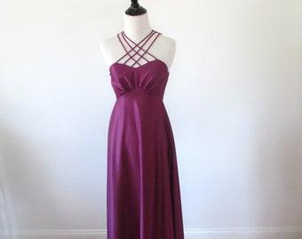 Vintage 1970's Dress l Purple Criss Cross Disco Dress l Size Small l Vintage Dress