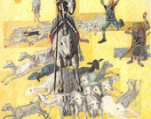 Vintage Print Don Quixote Encounters a Herd of Sheep Illustration by Candido Portinari
