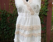Altered Couture White Cotton Dress with Layers of Ruffles & Lace - Junk Gypsy Shabby Chic - Women's Plus Size 22