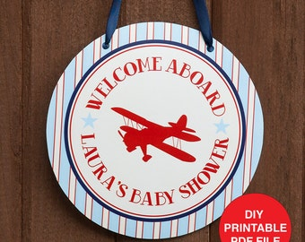 Airplane Baby Shower Decorations- Airplane Welcome Door Sign - Personalized - Digital PDF File