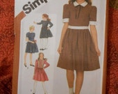 Simplicity 6044 Girls Shirtwaist Style Dress sized Girls 7 Breast 27 inches Vintage