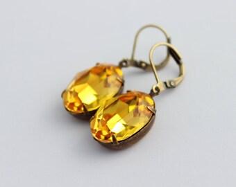 Swarovski Topaz earrings,Swarovski earrings, Golden yellow earrings, Fall wedding, Bridesmaid earrings, Amber colour, yellow topaz TO01