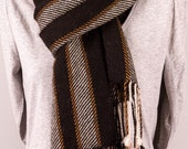 Men's Aplaca hand woven striped scarf in black, grey and brown