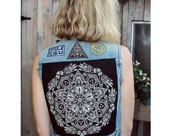 Mandala Screen-Printed Back Patch - White on Black