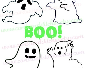 Halloween SVG - Ghosts SVG - Digital Cutting File - Silhouette Cut - Instant Download - Cricut SVG - Vector File - Svg, Dxf, Jpg, Eps, Png