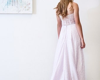 SAMPLE SALE Lilac Wedding Dress Gorgeous Dyed Sequin Strapless