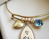Gold Brass Locket Birthstone Initial Bracelet Adjustable Heart Personalized Letter Swarovski Rustic Bangle