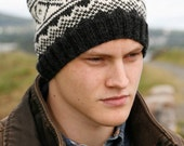 Men's Wool Fair Isle Hat - Hand Knit in Norwegian Style Dark Gray White for Hiking Biking Snowboarding Jogging (One Size - Ready to Ship)