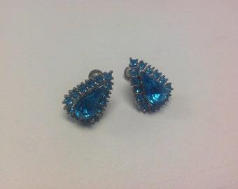 Beautiful Blue Coro Vintage Screwback Earrings
