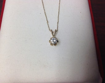 "14k Yellow Gold Diamond Pendant with 20"" Chain (435)"