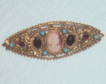 Vintage Florenza Garnet Turquoise Brooch Pin