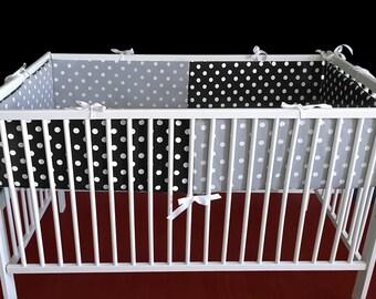 Black White Polka Dot Blossom Cot Crib Bumper, Ready to Ship, SALE