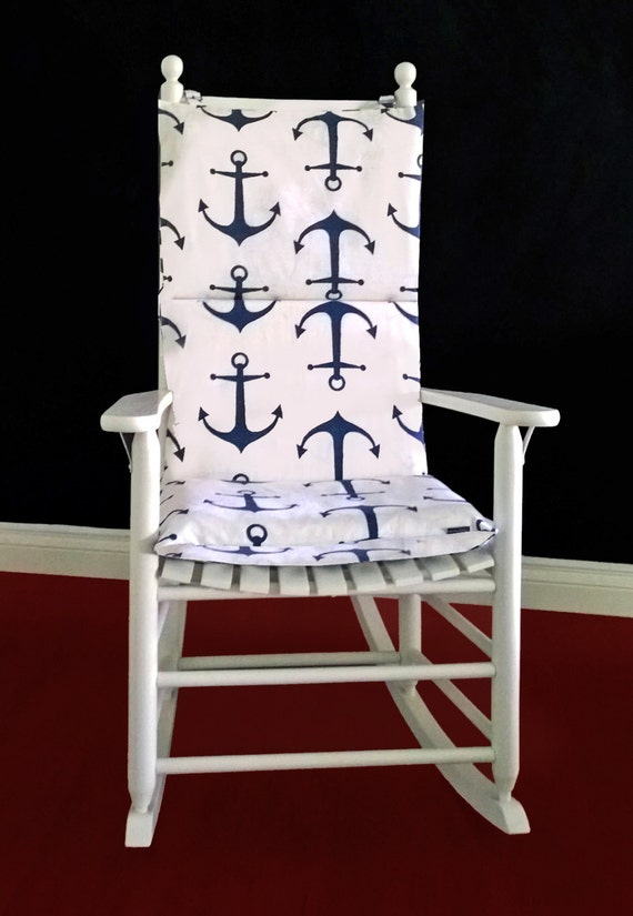 Rocking Chair Cushion Cover Navy Anchor