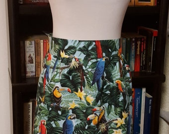Birds of Paradise Women's Skirt Size 8 Macaw Parrot Toucan
