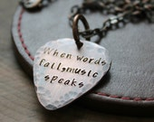 Guitar Pick Necklace, Personalized Men's, Rustic Copper, Masculine Necklace, Gift For Men -When Words Fail, Music Speaks or Custom Quote