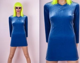 90s Blue Velvet Mini Dress