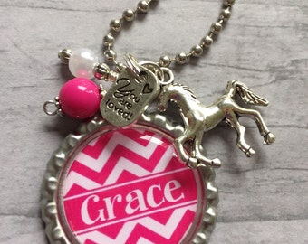 HORSE Charm NECKLACE /PERSONALIZED Jewelry / Christmas Gift / Pink Chevron / Pearls / I Love You / Stocking Stuffer / Secret Santa / Cousin