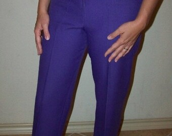 Vintage Womens Purple Polyester Dress Pants 1960s 1970s High Waisted SALE