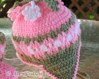 Crochet Pattern 003 - Blossom Hat - from 0-6 months to 4- 8 years Girls Toddler Children Winter Ear Flap Hat Pink Crocheted Flowers