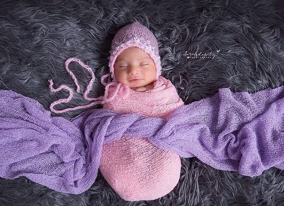 Mohair Bonnet for Newborn with Organza Bow and Trim & sequin flowers. Perfect for Newborns for photo shoots, photographers or every day wear