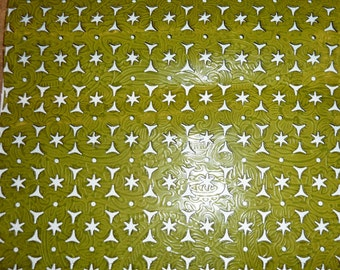"""Leather 12""""x12"""" Lime / Olive Green with Asterisk / Triangle HOLES Cowhide 2 oz / .8 mm PeggySueAlso"""