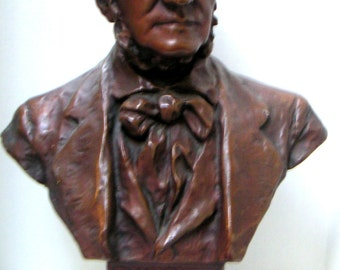 Vintage Bust of Richard Wagner,German Composer/Conductor,Chalkware, Bronze,Made by S. Paladini,New York,Home Decor,Music Room,Library